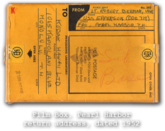 Film Box, Pearl Harbor return address, dated 1952