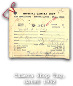 Camera Shop Tag, dated 1954
