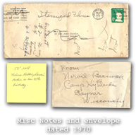 Misc Notes and envelope dated 1970